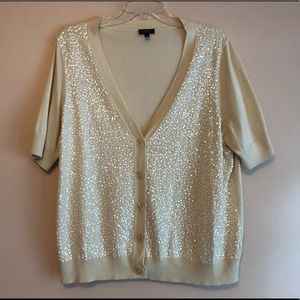 Talbots Ivory Knit Cadigan Short Sleeve Size 2XP